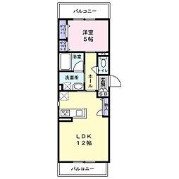 エンターテイン堺市 1階1LDKの間取り