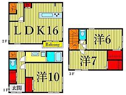東京メトロ日比谷線 南千住駅 徒歩8分の賃貸一戸建て 3階3LDKの間取り
