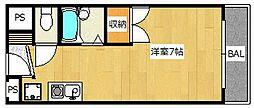 大阪府高槻市大蔵司2丁目の賃貸マンションの間取り