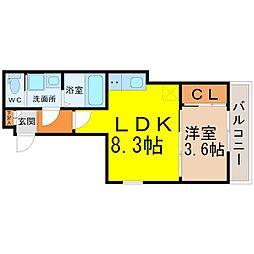 愛知県名古屋市南区鶴里町2丁目の賃貸アパートの間取り