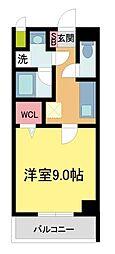 ラ・ビィNAKAZEN 5階1Kの間取り