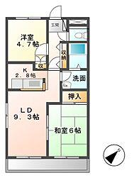 佐貫駅2LDK[203号室]の間取り