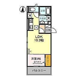 仮称 調子一丁目Droom 2階1LDKの間取り