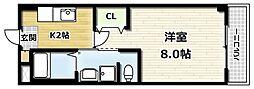 かぐや姫タワービル 5階1Kの間取り