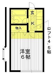 東京都練馬区練馬4丁目の賃貸アパートの間取り
