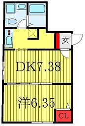 キュリオスコート西尾久 1階1DKの間取り