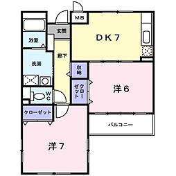 滋賀県草津市平井5丁目の賃貸マンションの間取り