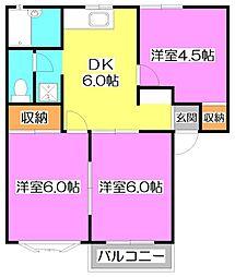 東京都練馬区西大泉2丁目の賃貸アパートの間取り