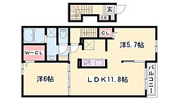 JR播但線 福崎駅 徒歩18分の賃貸アパート 2階2LDKの間取り