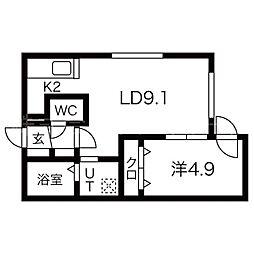 札幌市営東西線 円山公園駅 徒歩13分の賃貸マンション 1階1LDKの間取り