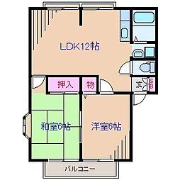 コーポやすらぎB棟[1階]の間取り