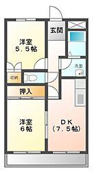 愛知県名古屋市緑区徳重2丁目の賃貸アパートの間取り