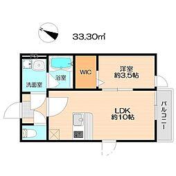 JR筑肥線 下山門駅 徒歩5分の賃貸アパート 2階1LDKの間取り