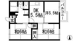 兵庫県西宮市上甲東園1丁目の賃貸アパートの間取り