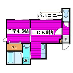 JR学園都市線 石狩当別駅 徒歩4分の賃貸アパート 1階1LDKの間取り