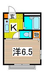 埼玉県さいたま市桜区新開1丁目の賃貸アパートの間取り