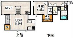JR京浜東北・根岸線 大宮駅 徒歩22分の賃貸アパート 2階1LDKの間取り