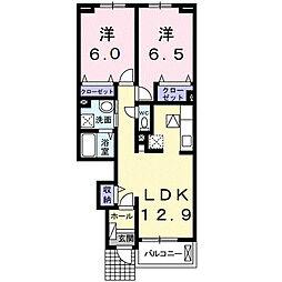 神奈川県大和市上和田の賃貸アパートの間取り