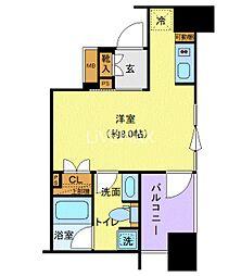 JR山手線 上野駅 徒歩3分の賃貸マンション 2階ワンルームの間取り