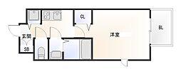南海線 難波駅 徒歩12分の賃貸マンション 13階1Kの間取り