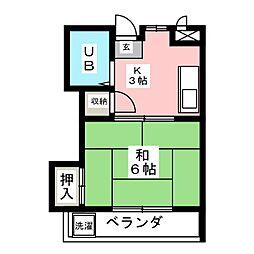 タケセイハイツ内田橋[3階]の間取り