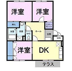 茨城県筑西市乙の賃貸アパートの間取り