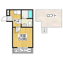 京都府京都市伏見区西柳町の賃貸アパートの間取り