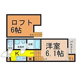愛知県名古屋市中村区千原町の賃貸アパートの間取り