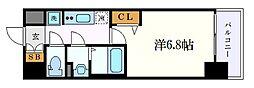 プレサンス名古屋駅ゲート 15階1Kの間取り
