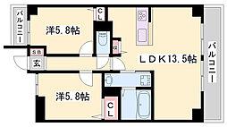 JR播但線 京口駅 徒歩8分の賃貸マンション 2階2LDKの間取り