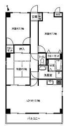 香川県高松市木太町の賃貸マンションの間取り
