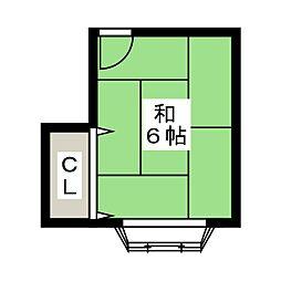 ブレジオ葵 2階ワンルームの間取り
