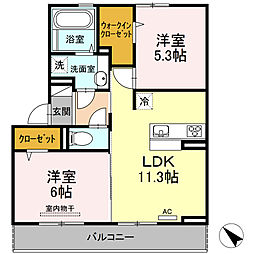 D-room可部3丁目A棟[202号室]の間取り