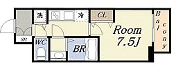 ジアコスモ大阪ベイシティ 8階1Kの間取り