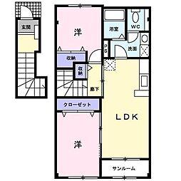 [大東建託]グラン・マティスB (十和田市)[2階]の間取り