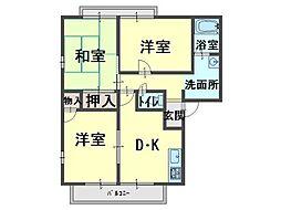 サンプライム阪南[1階]の間取り