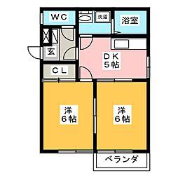 ビレッジアキ[1階]の間取り