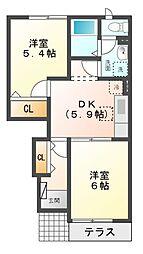 愛知県名古屋市緑区浦里2丁目の賃貸アパートの間取り