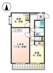 サンプロスミタニ[2階]の間取り