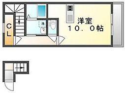 高松琴平電気鉄道長尾線 元山駅 徒歩33分の賃貸アパート 2階1Kの間取り