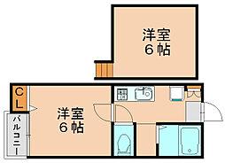 ピュア博多東伍番館[2階]の間取り