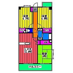 福岡県福岡市南区横手4丁目の賃貸マンションの間取り