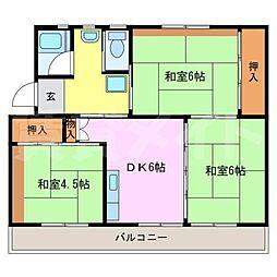 ビレッジハウス名張 2号棟[5階]の間取り