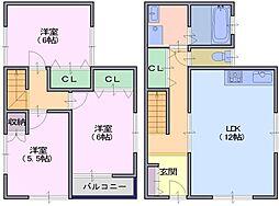 上杉住宅 2階3LDKの間取り