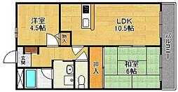 能登6番館WEST[2階]の間取り