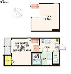 愛知県名古屋市熱田区白鳥2丁目の賃貸アパートの間取り