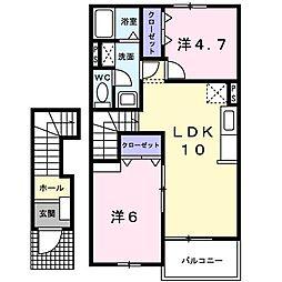 ラ・ベレッツァII[2階]の間取り