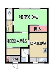 兵庫県神戸市灘区篠原北町4丁目の賃貸アパートの間取り