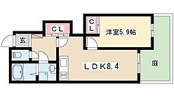 エル・シャトー 1階1DKの間取り