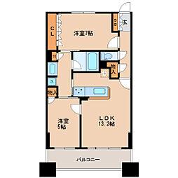 JR仙石線 仙台駅 徒歩5分の賃貸マンション 12階2LDKの間取り